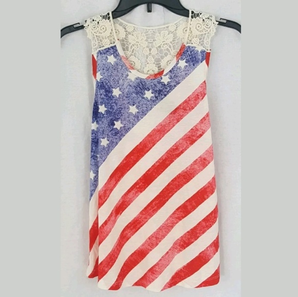 c7d4149aed8 NEW Rue 21 American Flag Tank Red White Blue Stars